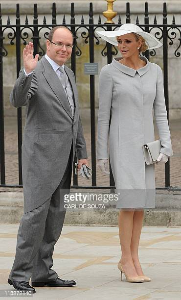 Prince Albert II of Monaco and Charlene Wittstock arrive at the West Door of Westminster Abbey for the wedding of Britain's Prince William and Kate...