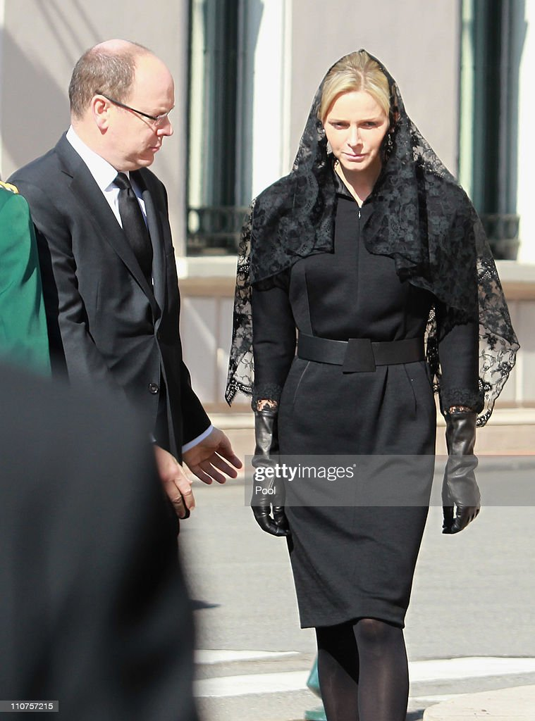 Prince Albert II of Monaco (L) and Charlene Wittstock (R) arrive to attend the funeral of Princess Melanie-Antoinette at Cathedrale Notre-Dame-Immaculee de Monaco on March 24, 2011 in Monaco, Monaco. ((Photo by Pool/Getty Images))