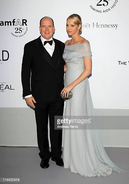 Prince Albert II of Monaco and Charlene Wittstock attend amfAR's Cinema Against AIDS Gala during the 64th Annual Cannes Film Festival at Hotel Du Cap...