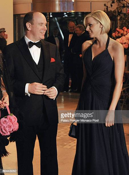 Prince Albert II of Monaco and Charlene Wittstock attend the 2008 Monte Carlo Rose Ball 'Movida' on March 29 2008 at the Monte Carlo Sporting Club...