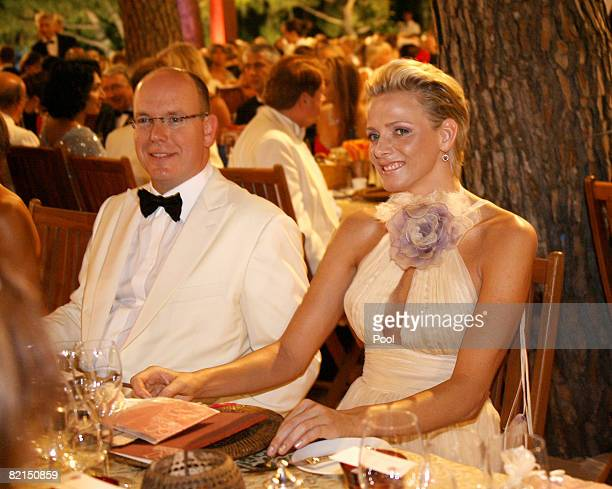 Prince Albert II of Monaco and Charlene Wittstock attend the 60th Monte Carlo Red Cross Ball Dinner on August 1 2008 in Monte Carlo Monaco
