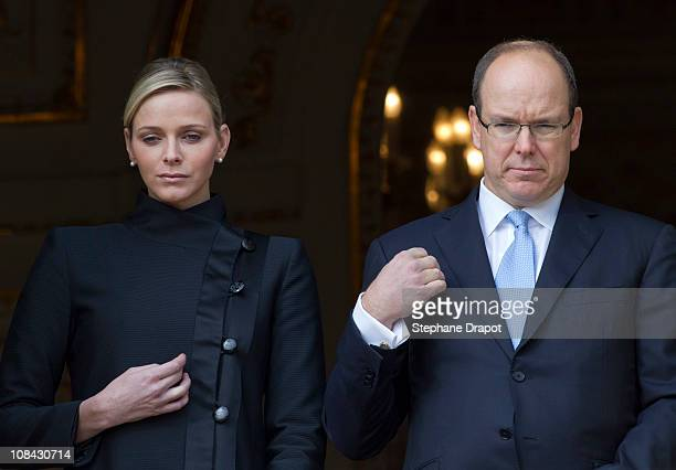 Prince Albert II of Monaco and Charlene Wittstock attend the ceremony of the Sainte Devote on January 27 2011 in Monaco Monaco