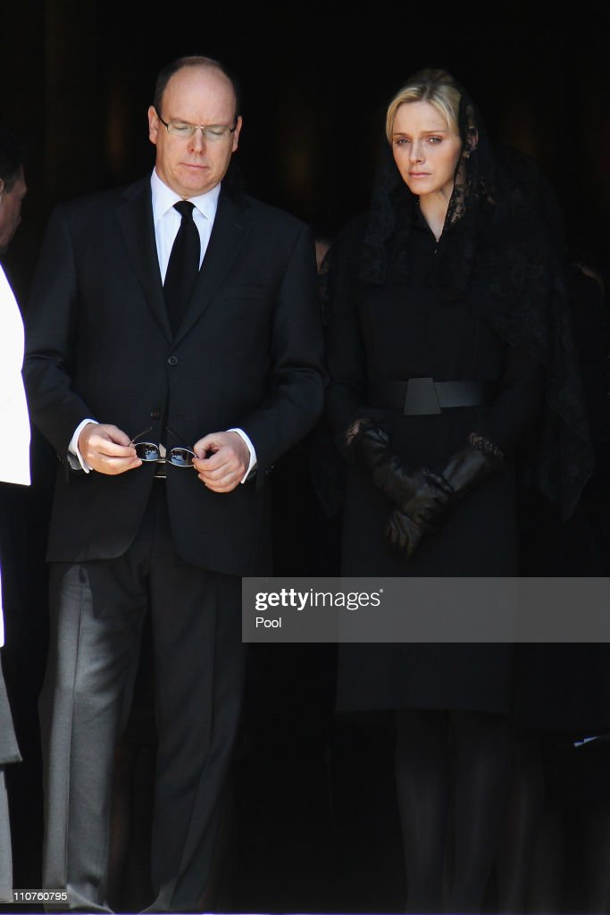 Prince Albert II of Monaco and Charlene Wittstock attend the funeral of Princess Melanie-Antoinette at Cathedrale Notre-Dame-Immaculee de Monaco on March 24, 2011 in Monaco, Monaco. ((Photo by Pool/Getty Images))