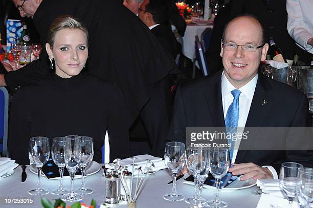 Prince Albert II of Monaco and Charlene Wittstock attend the Gala dinner of the Peace Sport 4th International Forum on December 2 2010 in Monaco...