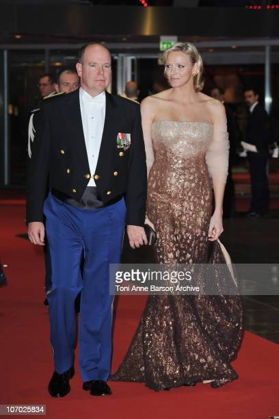 Prince Albert II of Monaco and Charlene Wittstock attend the Monaco National day Gala concert at Grimaldi forum on November 19 2010 in Monaco Monaco