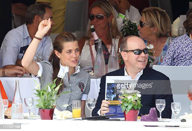 Prince Albert II of Monaco and Charlotte Casiraghi attend the Global Champion Tour 2011 on June 24 2011 in Monte Carlo Monaco