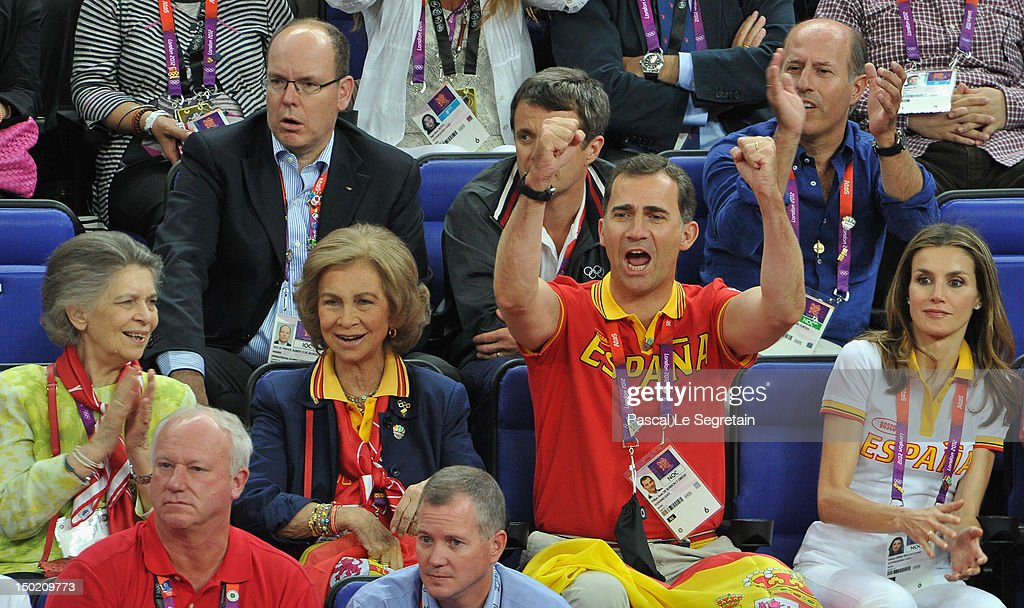 Prince Albert II of Monaco and Crown Prince Frederik of Denmark sit behind Queen Sofia (2nd R) of Spain, Prince Felipe of Spain and Crown Princess Letizia of Spain during the Men's Basketball gold medal game between the United States and Spain on Day 16 of the London 2012 Olympics Games at North Greenwich Arena on August 12, 2012 in London, England.