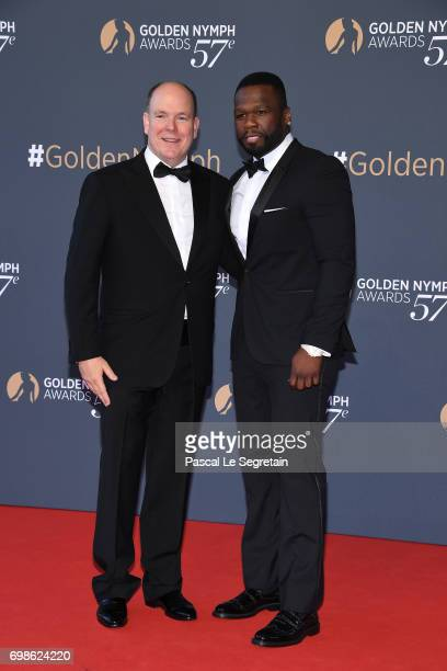 Prince Albert II of Monaco and Curtis Jackson '50 Cent' attend the Closing ceremony of the 57th Monte Carlo TV Festival on June 20 2017 in MonteCarlo...