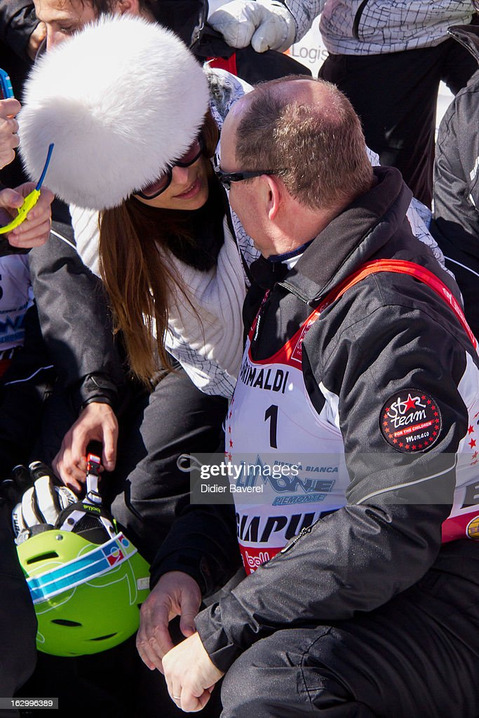 Prince Albert II of Monaco and ex Miss Italy Cristina Chiabotto attend the Biatlhon Charity Ski Race To Collect Donations For 'Star Team For The Children MC' on March 2, 2013 in Limone, Italy.