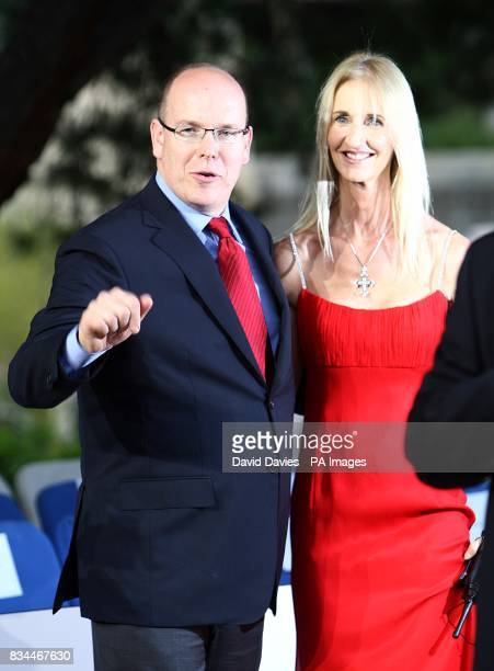 Prince Albert II of Monaco and guest arrive for the Grand Prix and Fashion Unite at The Amber Lounge Le Meridien Beach Plaza Hotel Monaco