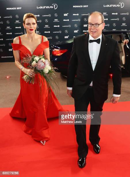 Prince Albert II of Monaco and his CharlenePrincess of Monaco attend the 2017 Laureus World Sports Awards at the Salle des EtoilesSporting Monte...