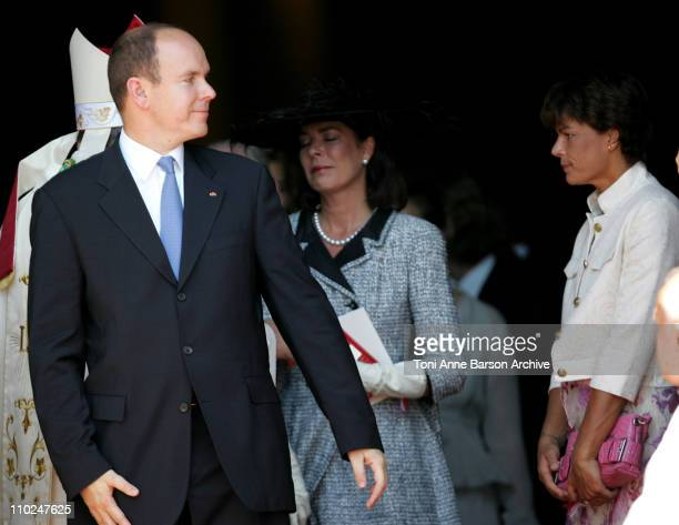 HSH Prince Albert II of Monaco and his family departure after the Mass Princess Caroline of Hanover and Princess Stephanie of Monaco