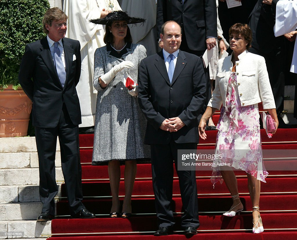 HSH Prince Albert II of Monaco and his family departure after the Mass Ernst August of Hanover, Princess Caroline of Hanover and Princess Stephanie of Monaco