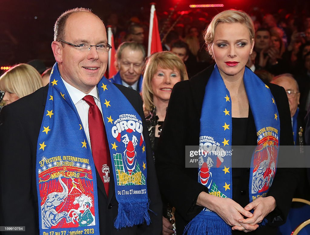 Prince Albert II of Monaco and his wife, Princess Charlene attend the official Award Gala Evening of the 37th International Circus Festival of Monte Carlo in Monaco, 22 January 2013.