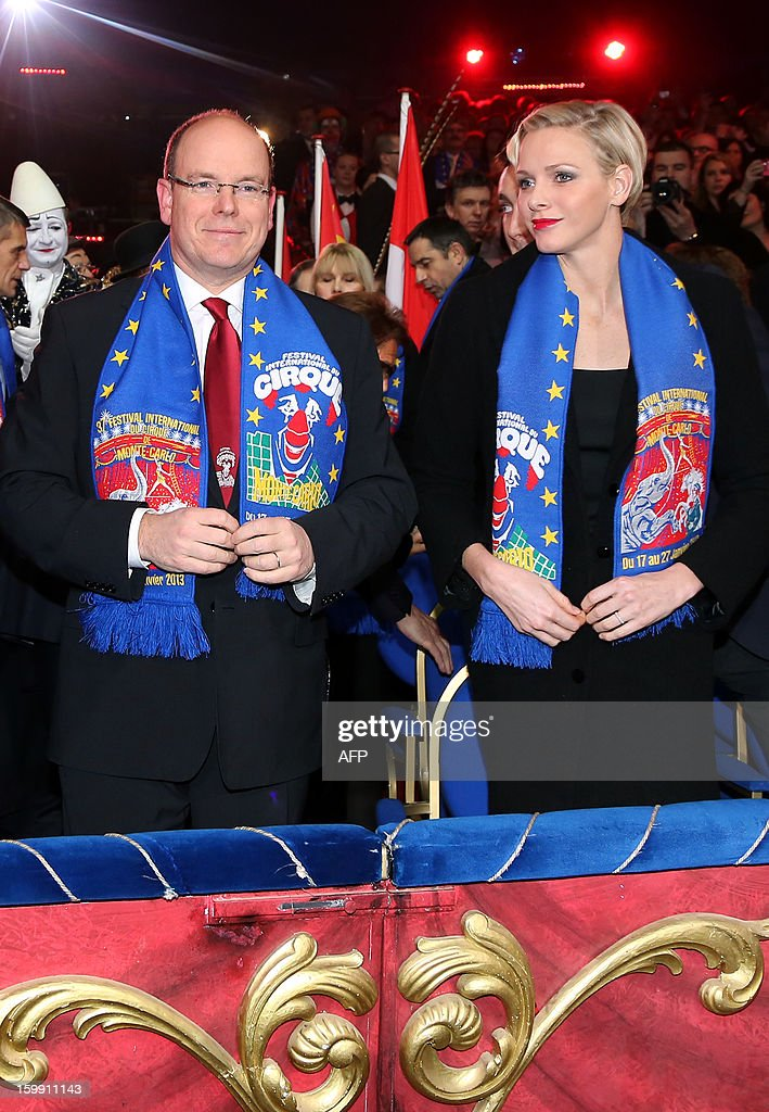 Prince Albert II of Monaco and his wife, Princess Charlene attend the official Award Gala Evening of the 37th International Circus Festival of Monte Carlo in Monaco, 22 January 2013. AFP PHOTO POOL SEBASTIEN NOGIER