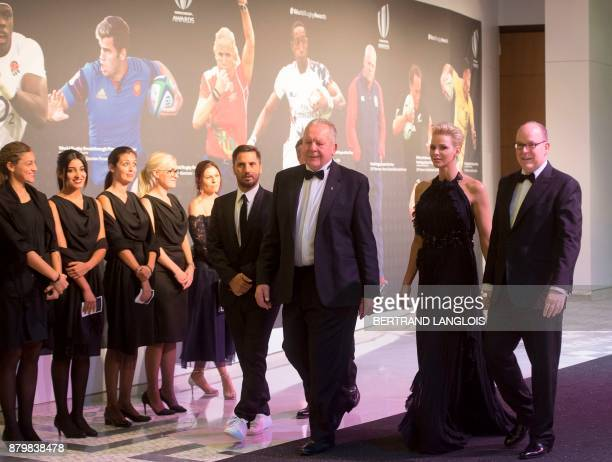 Prince Albert II of Monaco and his wife Princess Charlene of Monaco World Rugby Chairman Bill Beaumont and World Rugby ViceChairman Agustin Pichot...