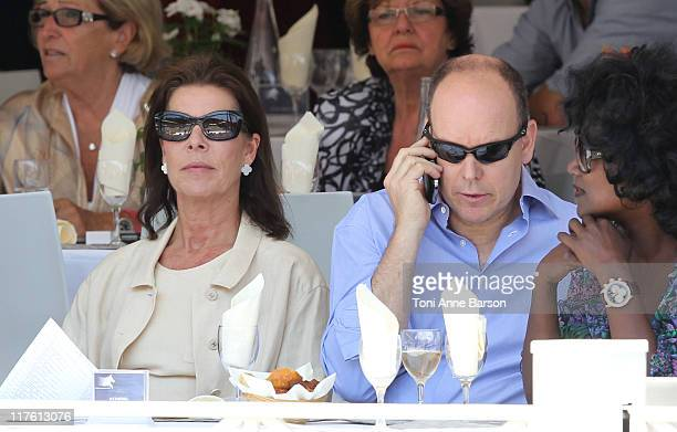 HSH Prince Albert II of Monaco and HSH Princess Caroline of Hanover attend the Global Champion Tour 2011 on June 25 2011 in Monte Carlo Monaco