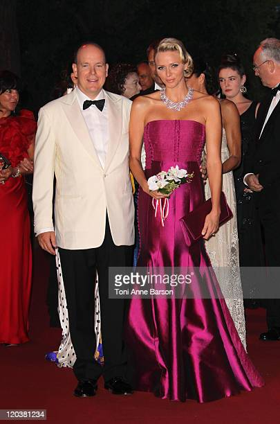 Prince Albert II of Monaco and HSH Princess Charlene of Monaco attend the 63rd Red Cross Ball Gala at MonteCarlo Sporting on August 5 2011 in...