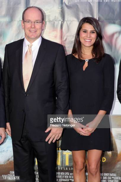 Prince Albert II of Monaco and Karine Ferri attend the Gala Event Against Cystic Fibrosis At Cinema Le Sporting on November 8 2011 in Monaco Monaco