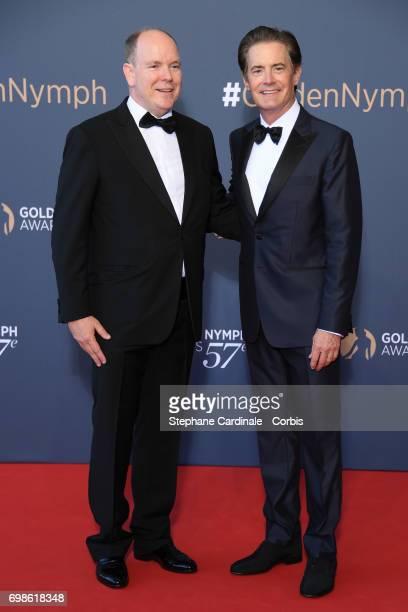 Prince Albert II of Monaco and Kyle MacLachlan attend the 57th Monte Carlo TV Festival Closing Ceremony on June 20 2017 in MonteCarlo Monaco