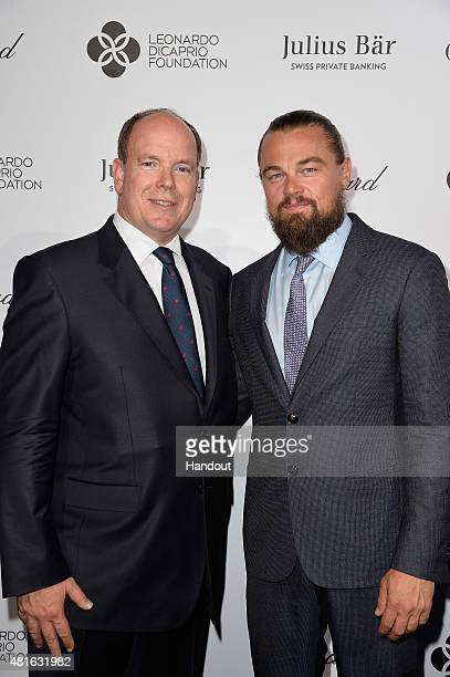 Prince Albert II of Monaco and Leonardo DiCaprio attend a cocktail reception during The Leonardo DiCaprio Foundation 2nd Annual SaintTropez Gala at...