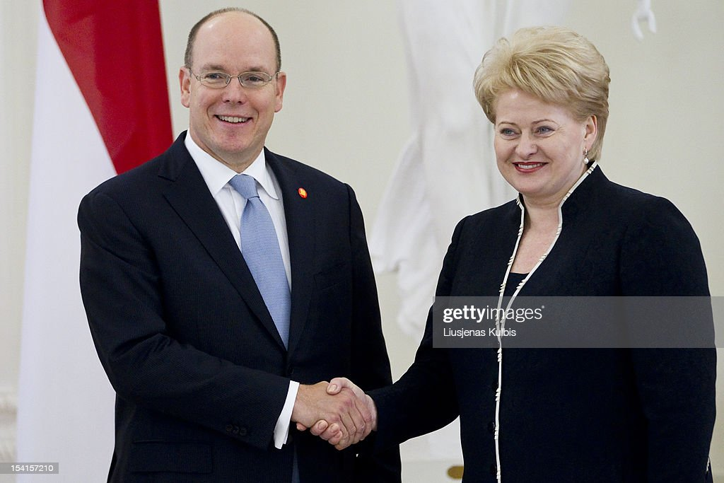 Prince Albert II of Monaco and Lithuania's President <a gi-track='captionPersonalityLinkClicked' href=/galleries/search?phrase=Dalia+Grybauskaite&family=editorial&specificpeople=654850 ng-click='$event.stopPropagation()'>Dalia Grybauskaite</a> (R) shake hands during a meeting with Lithuanian President <a gi-track='captionPersonalityLinkClicked' href=/galleries/search?phrase=Dalia+Grybauskaite&family=editorial&specificpeople=654850 ng-click='$event.stopPropagation()'>Dalia Grybauskaite</a>, left, in the President palace on October 15, 2012 in Vilnius, Lithuania.
