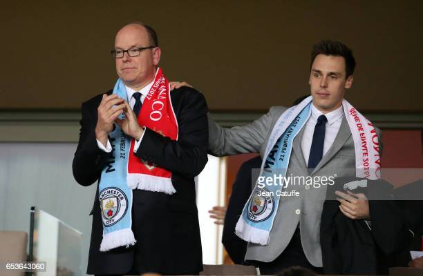 Prince Albert II of Monaco and Louis Ducruet attend the UEFA Champions League Round of 16 second leg match between AS Monaco and Manchester City FC...
