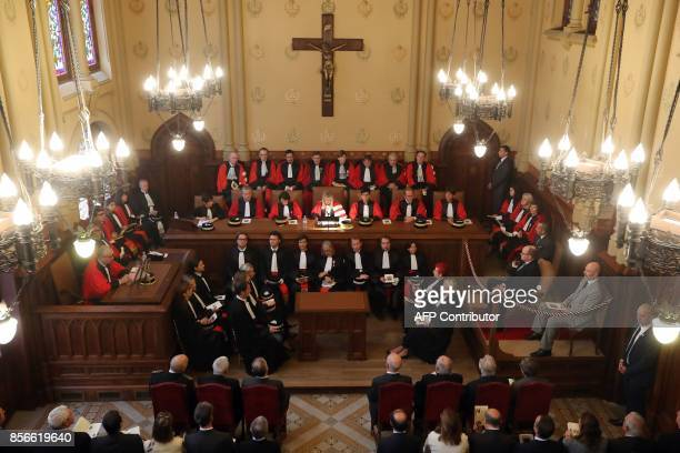 Prince Albert II of Monaco and Monaco's new delegate of judicial affairs to the Government Laurent Anselmi attend with magistrates and lawyers a...