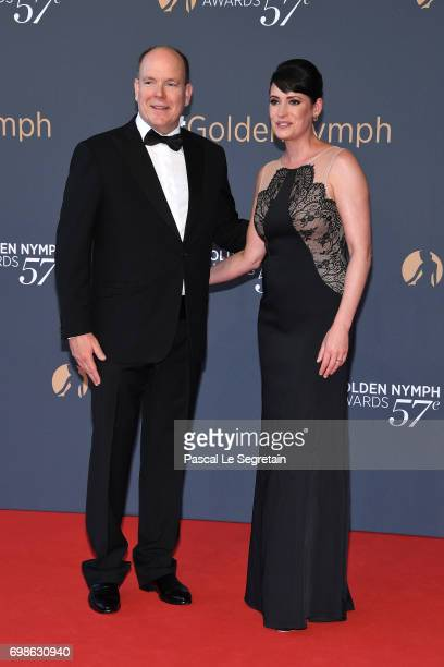 Prince Albert II of Monaco and Paget Brewster attend the Closing ceremony of the 57th Monte Carlo TV Festival on June 20 2017 in MonteCarlo Monaco