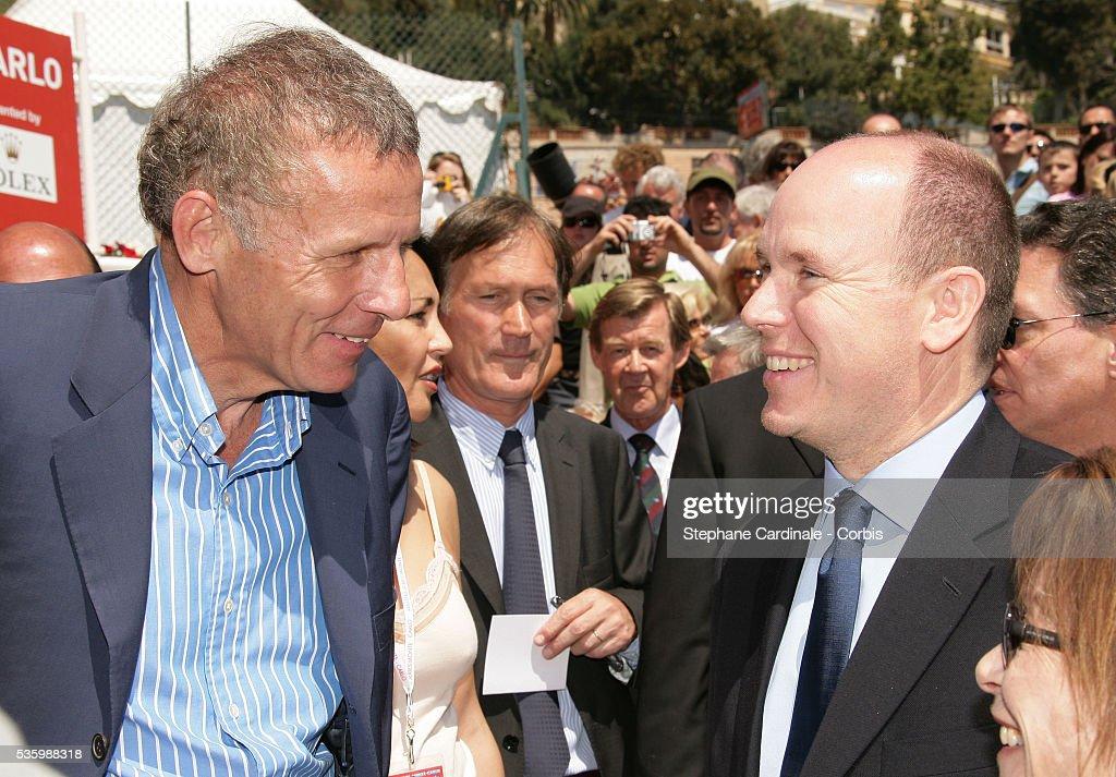 HSH Prince Albert II of Monaco and Patrick Poivre D'Arvor during the Monte Carlo tennis tournament.