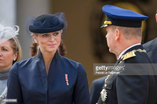 Prince Albert II of Monaco and Pirncess Charlene of Monaco attend the Monaco National Day Celebrations in the Monaco Palace Courtyard on November 19...