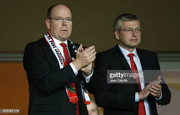 Prince Albert II of Monaco and President of AS Monaco Dmitri Rybolovlev attend the UEFA Champions League Quarter Final second leg match between AS...