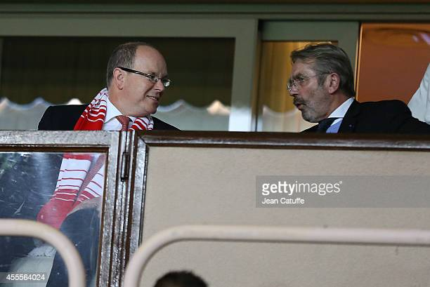 Prince Albert II of Monaco and President of French Ligue Frederic Thiriez attend the UEFA Champions League Group C match between AS Monaco FC and...
