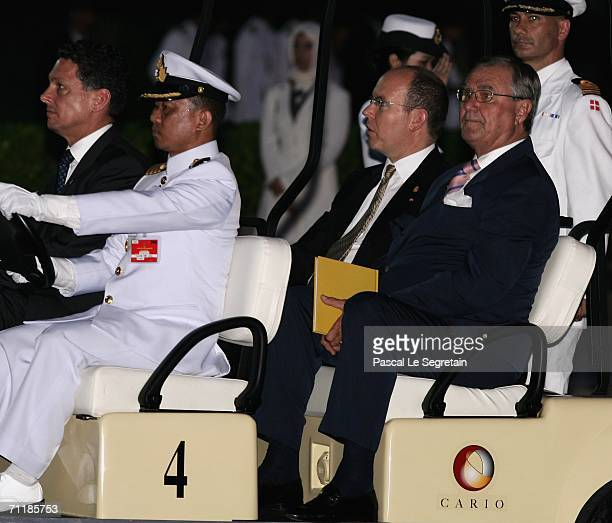 Prince Albert II of Monaco and Prince Henrik of Denmark arrives at the Royal Navy Club in a Golf Cart to attend the Royal Barge Procession on June 12...