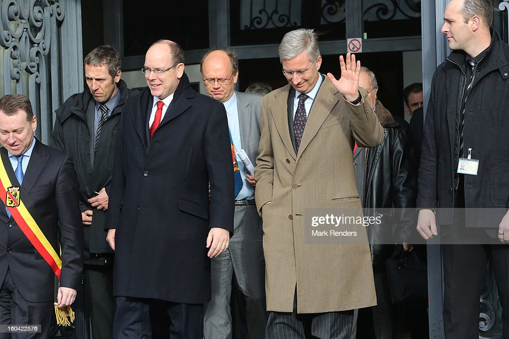 Prince Albert II of Monaco (centre L) and Prince Philippe of Belgium (centre R) attend the 1st Interdisciplanary Congress On Sustainable Development at the Palais des Congres on January 31, 2013 in Namur, Belgium. Topics expected to be covered at the two-day conference, on January 31 and February 1, 2013, include food and agriculture, land use, planning and housing.