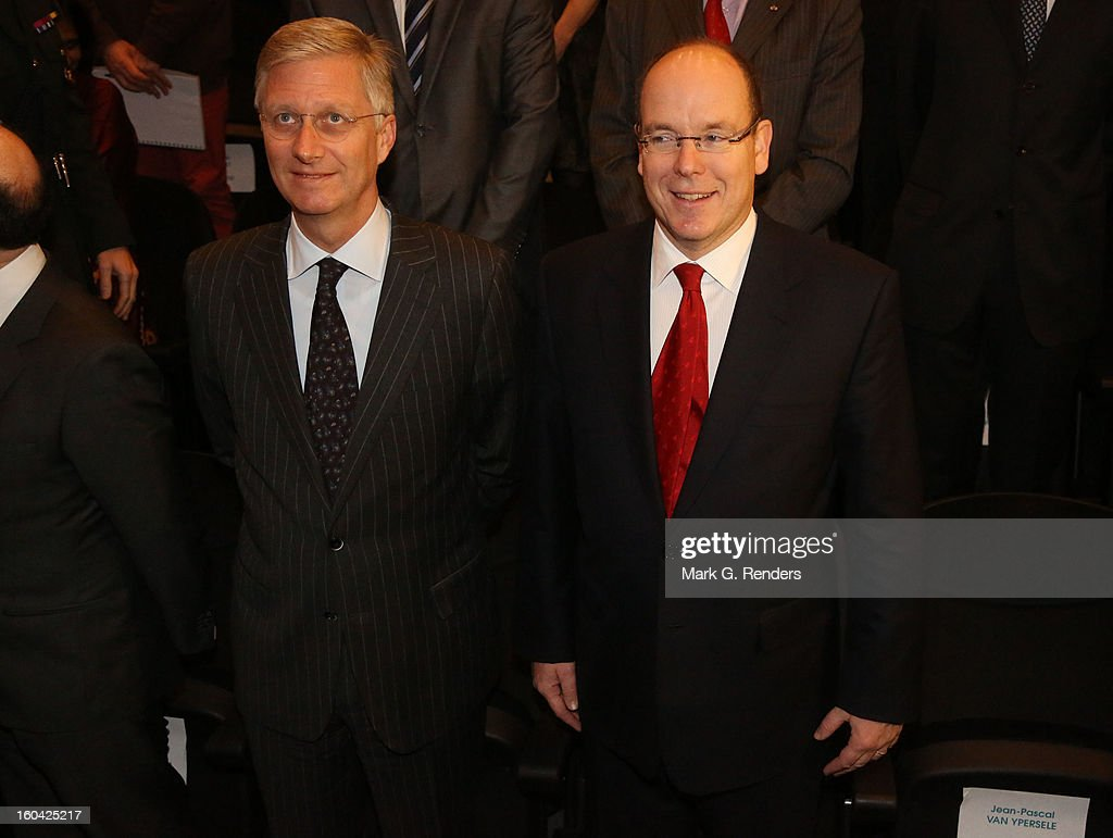 Prince Albert II of Monaco and Prince Philippe of Belgium attend the 1st Interdisciplanary Congress On Sustainable Development at the Palais des Congres on January 31, 2013 in Namur, Belgium. Topics expected to be covered at the two-day conference, on January 31 and February 1, 2013, include food and agriculture, land use, planning and housing.
