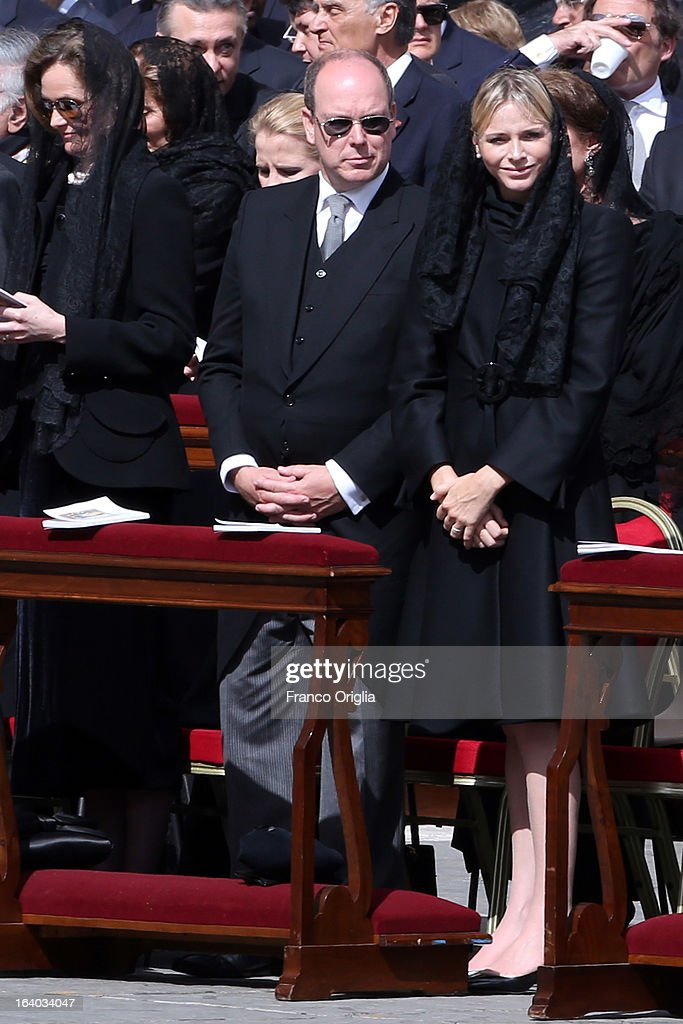 Prince Albert II of Monaco and Princess Charlene attend the Inauguration Mass of Pope Francis in St. Peter's Square for his Inauguration Mass on March 19, 2013 in Vatican City, Vatican. The inauguration of Pope Francis is being held in front of an expected crowd of up to one million pilgrims and faithful who have crowded into St Peter's Square and the surrounding streets to see the former Cardinal of Buenos Aires officially take up his position. Pope Francis' inauguration takes place in front his cardinals, spiritual leaders as well as heads of states from around the world and he will now lead an estimated 1.3 billion Catholics.