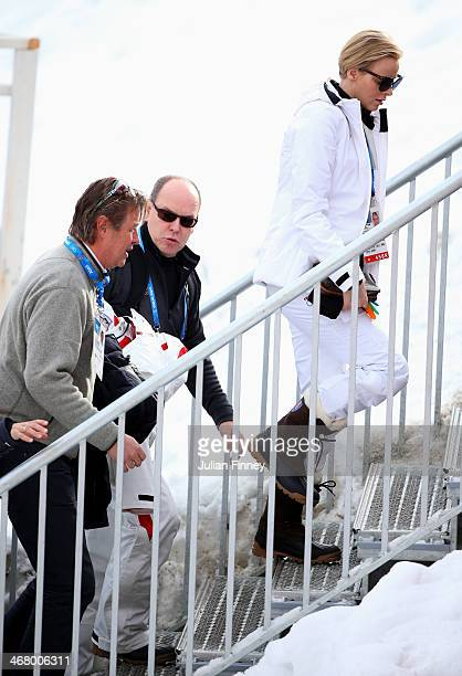 Prince Albert II of Monaco and Princess Charlene of Monaco ahead of the Alpine Skiing Men's Downhill at Rosa Khutor Alpine Center on February 9 2014...