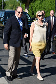 Prince Albert II of Monaco and Princess Charlene of Monaco arrive to attend a visit to the Barbara Sinatra Children's Center on October 11 2014 in...