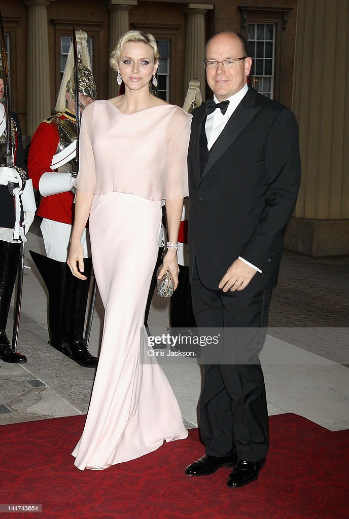 Prince Albert II of Monaco and Princess Charlene of Monaco attend a dinner for foreign Sovereigns to commemorate the Diamond Jubilee at Buckingham Palace on May 18, 2012 in London, England. Prince Charles, Prince of Wales and Camilla, Duchess of Cornwall hosted the event.