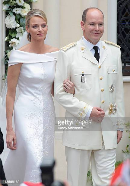 Prince Albert II of Monaco and Princess Charlene of Monaco attend the religious ceremony of the Royal Wedding of Prince Albert II of Monaco to...