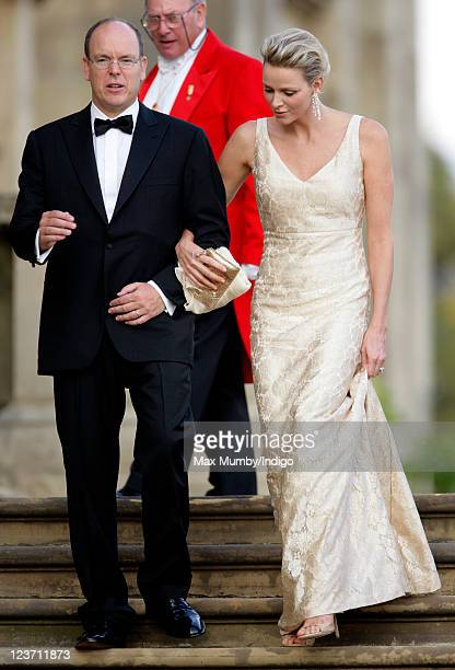 Prince Albert II of Monaco and Princess Charlene of Monaco attend the Yorkshire Variety Club's Golden Jubilee Ball at Harewood House on September 4...