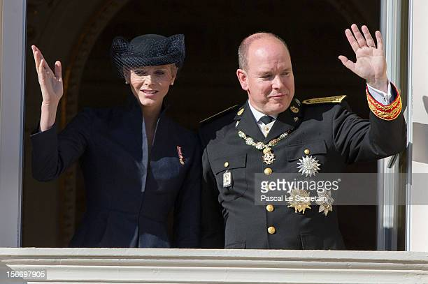Prince Albert II of Monaco and Princess Charlene of Monaco attend the National Day Parade as part of Monaco National Day Celebrations at Monaco...