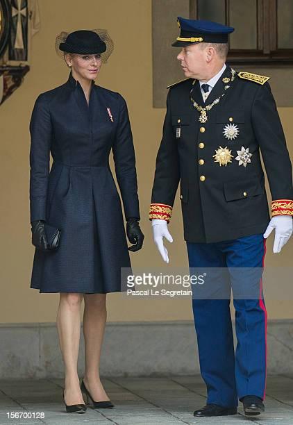 Prince Albert II of Monaco and Princess Charlene of Monaco attend the Monaco National Day Celebrations in the Monaco Palace Courtyard on November 19...