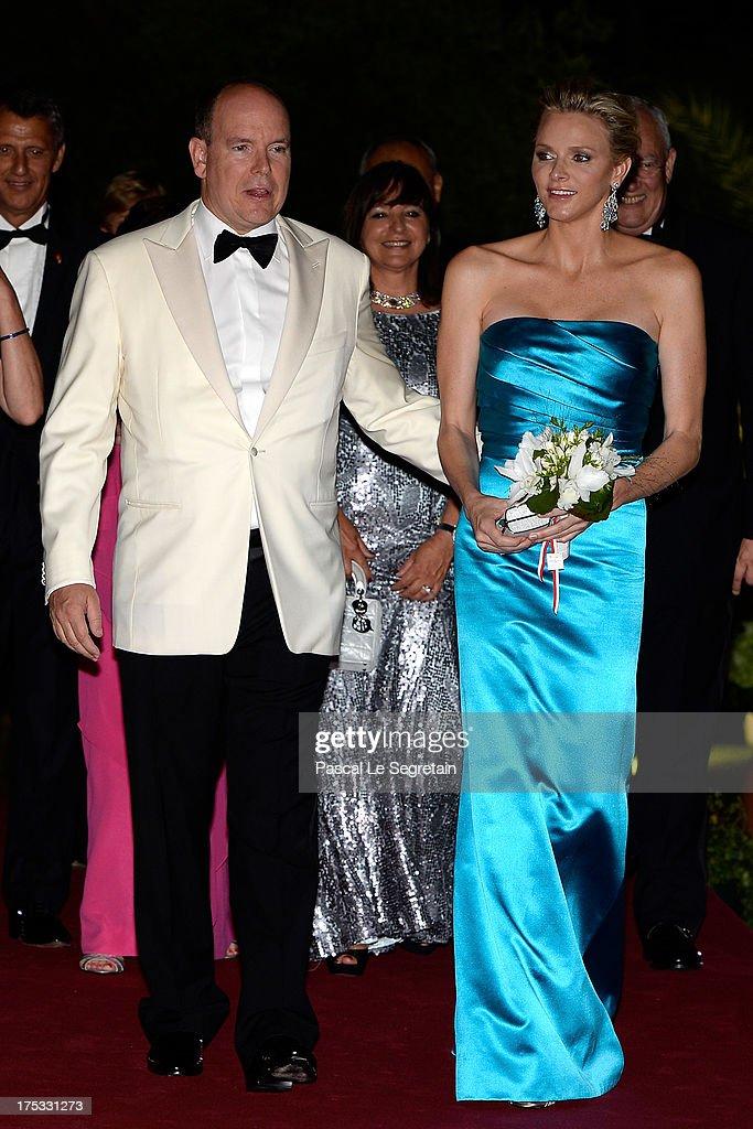 Prince Albert II of Monaco and Princess Charlene of Monaco attend the 65th Monaco Red Cross Ball Gala at Sporting Monte-Carlo on August 2, 2013 in Monte-Carlo, Monaco.