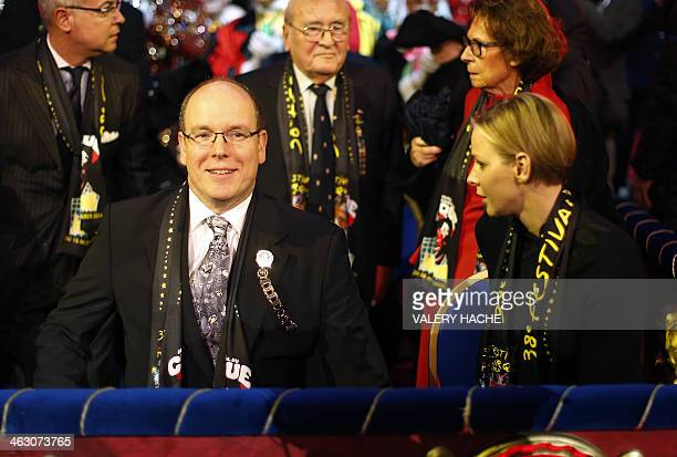 Prince Albert II of Monaco and Princess Charlene of Monaco attend the 38th MonteCarlo International Circus Festival in Monaco on January 16 2014 The...