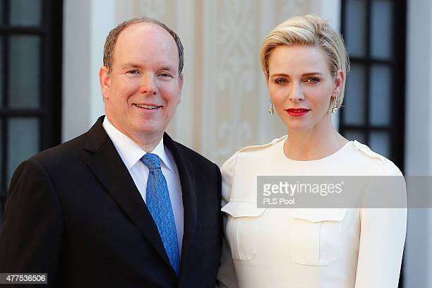 Prince Albert II of Monaco and Princess Charlene of Monaco attend the Monaco Palace cocktail party of the 55th Monte Carlo TV festival on June 17...