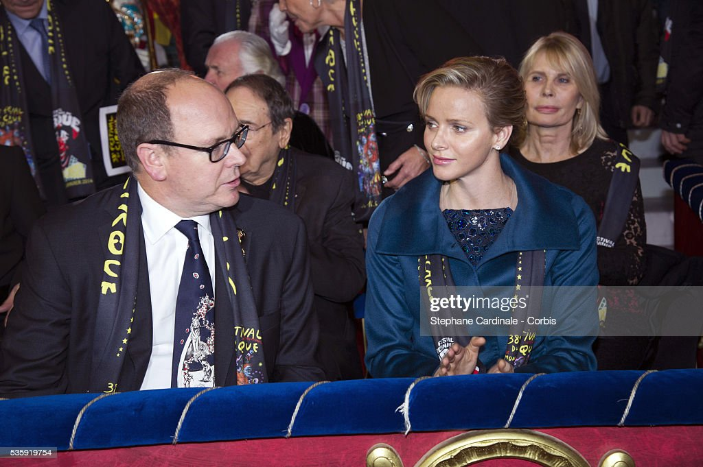 Prince Albert II of Monaco and Princess Charlene of Monaco attend the 38th International Circus Festival on January 21, 2014 in Monte-Carlo, Monaco.