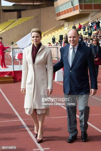 Prince Albert II of Monaco and Princess Charlene of Monaco attend the Sainte Devote Rugby Tournament on March 18 2017 in MonteCarlo Monaco
