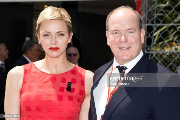 Prince Albert II of Monaco and Princess Charlene of Monaco attend the Monaco Formula 1 Grand Prix at the Monaco street circuit on May 28 2017 in...